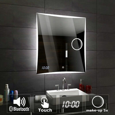 Lisboa Espejo de baño con iluminación LED pared Touch Bluetooth Reloj
