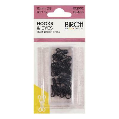 BIRCH - HOOK & EYES -  RUSTPROOF -  12MM .-QTY 12 SETS -silver or black