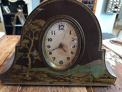 Very pretty Antque tin plate advertising Victory V Lozenges Mantle Clock