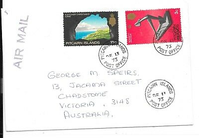 PITCAIRN ISLANDS 1973 18c RATE QE2 COVER TO AUSTRALIA