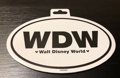 "WALT DISNEY WORLD WDW 6"" OVAL CAR STICKER DECAL w MICKEY ICONS AUTHENTIC"