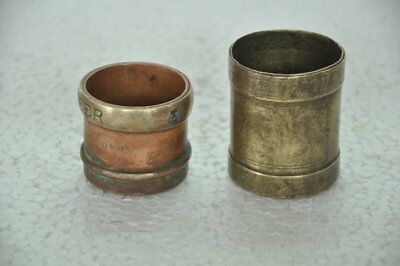 2 Pc Old Brass & Copper 1/16 Seer Small/Penny Handcrafted Measurement Pots