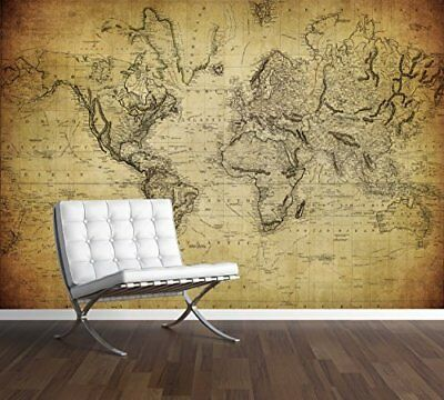 Vintage World Map Wall Mural Photo Wallpaper Antique Old Style