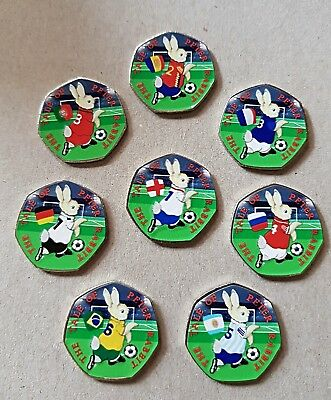 Peter rabbit world cup 2018 50p 2017 coin stickers high quality and colour x 8