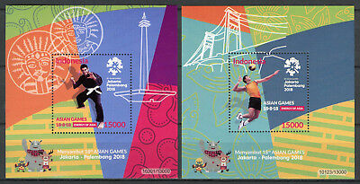 Indonesia 2018 MNH Asian Games 2x 1v S/S Pencak Silat Volleyball Sports Stamps
