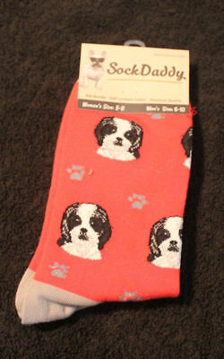 Shih Tzu Black Puppy Dog Breed Lightweight Stretch Cotton Adult Socks