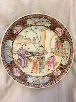Beautiful Antique Chinese 18thc Quianlong Dish Famille Rose Figure Painted