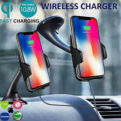 QI Wireless Car Charger Phone Mount Holder For Samsung S9 S8 Plus S7 Edge XS X 8
