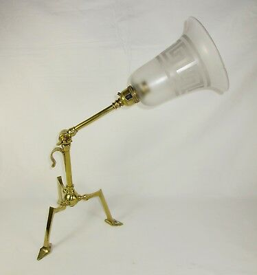 Antique W.a.s Benson Style Brass Tripot Adjustable Table / Wall Lamp Around 1905