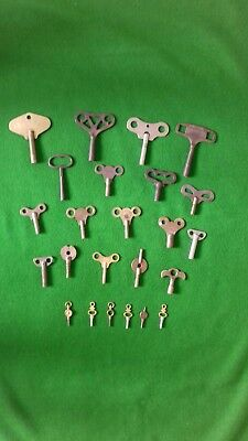 Collection of old clock keys and pocket watch keys . 24 keys in total.