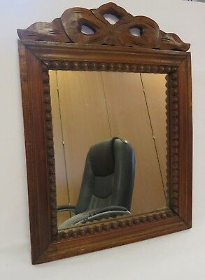 Antique German Carved Wooden Black Forest  Mirror 15 x 11 inch - ready to hang
