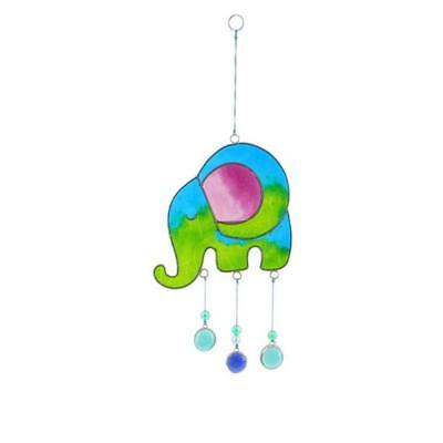 Handcrafted Stained Glass Elephant Suncatcher Hanging Window Mobile Sun Catcher