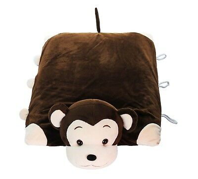 Pillow Pet - Monkey 100% Natural Latex Pillow with Case - Foldable Pillow Toy...