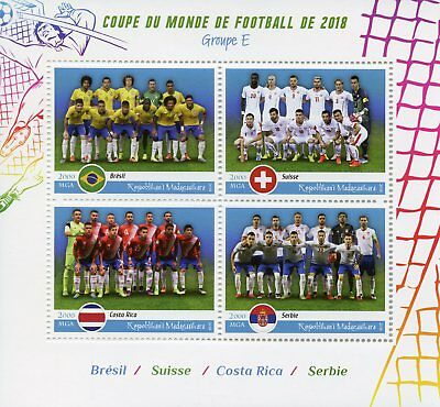 Madagascar 2018 MNH World Cup Football Russia Brazil Switzerland 4v M/S Stamps