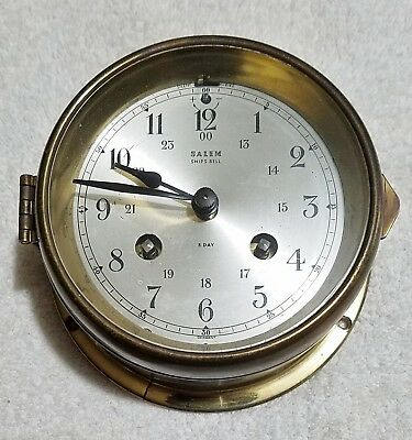 Vintage Salem Brass 8 Day Ships Bell Nautical Clock Germany