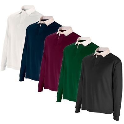 Mens Boys Rugby Shirt Premium Long Sleeve Cotton Casual Regular Fit Jumper Top