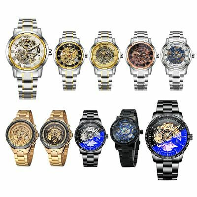 Luxury Automatic Mechanical Wristwatch Mens Skeleton Gold Steel Stainless Watch