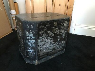 Antique Chinese Black Lacquer/ mother of pearl Trunk
