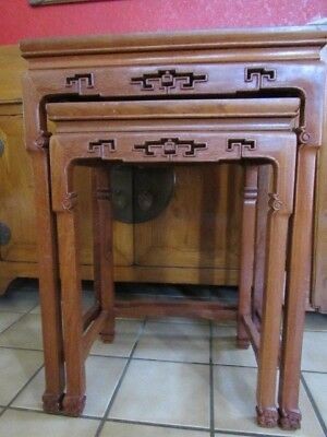 Antique Chinese nesting tables teak set of 2