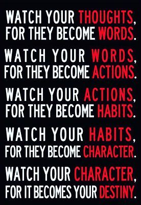 157584 Watch Your Thoughts Motivational Wall Print Poster CA