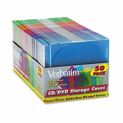 Verbatim Jewel CD/DVD Assorted Color Cases Durable Storage/Organization 50ct
