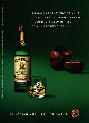 Jameson Scotch Whiskey print ad 2007 Green background, pretzels