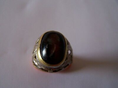 Ancient Black Agate Roman Intaglio ring with silver