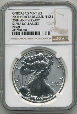 2006-P Silver Eagle Reverse Proof Ngc Pf69 Brown Label (No Spots)