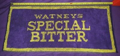 Watney's Special Bitter Bar Towel Purple Yellow Alcohol  Beer Collectible Vtg.
