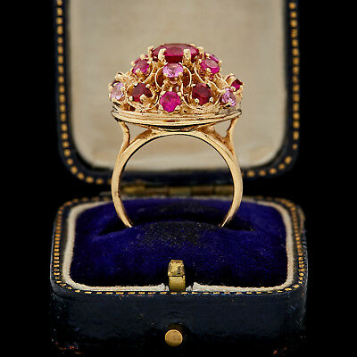 Antique Vintage Art Deco Retro 14k Gold Ruby Sapphire Garnet Bombe Ring Sz 6.75