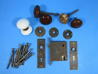 VINTAGE  EASTLAKE(?) LOCK KEY HOLE PLATE DOOR KNOBS Door hinge pins