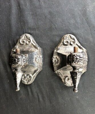 A- Antique Pair Cast Iron Gas Wall Porch Sconce Marked N L & S Pat 1924