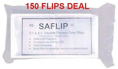 150 Coin Collecting 2.5 x 2.5 Mylar Saflip Double Pocket Archival 3 Packs Deal