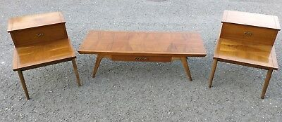 Lane  Mid Century Modern Coffee Table and Step Down Side Tables End Tables