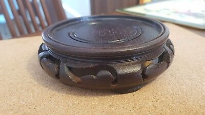Antique carved wooden Chinese stand with pierced sides