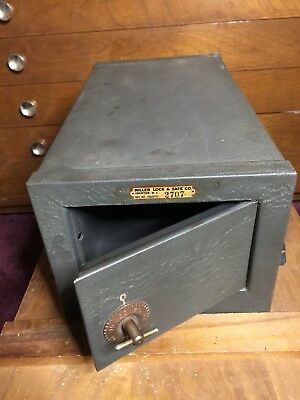 Antique Strongbox Combination Lock Box Miller Safe Mini Steel 1930s Trenton NJ