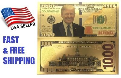 Donald Trump $1,000 Dollar Banknote Gold Paper Money