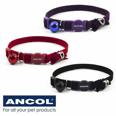 Cat Collar Ancol Velvet Jewel Diamante Heart Bow Safety Buckle Bell - 3 Colours