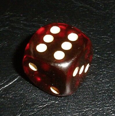 Rare Art Deco German Simichrome Tested Cherry Amber Bakelite Catalin Casino Dice