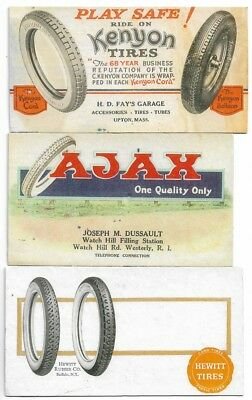 3 Antique Automobile Tire Advertising Blotters