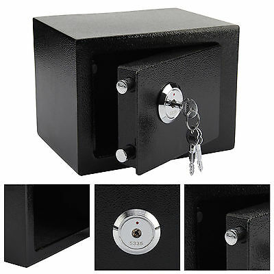 Safe Small Strong High Security Key Lock Safety Steel Box Home Office Money