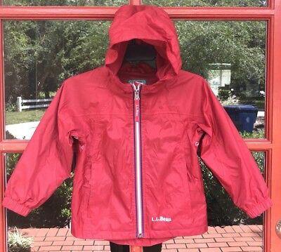 LL Bean Full Zip 100% Nylon Jacket Windbreaker Toddler 4T Red Hoodie