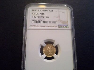 1856 Slanted 5- $1-GOLD  DOLLAR Almost Uncirculated-NGC  DETAILS- scratch obv.