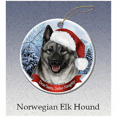 Norwegian Elkhound Howliday Porcelain China Dog Christmas Ornament