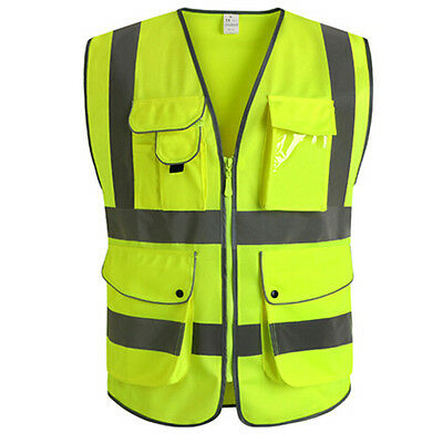 Unisex CNSS High Visibility Reflective Multi Pockets Construction Safety Vest