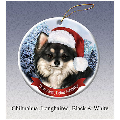 Chihuahua Long Hair Black Howliday Porcelain China Dog Christmas Ornament