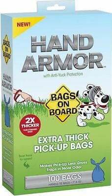 Dog Bags On Board Hand Armor Large Thick Poop Bags 100s Pick Up Poo Less Gross