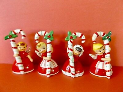 NAPCO 1956  VINTAGE Christmas ANGEL BELLS w.Lg CANDY CANES NAPCOWARE 3BX2239