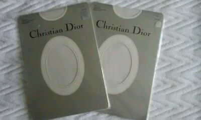 Vintage Christian Dior Lace Top Stocking Lot 2 White Sz 1 NIP