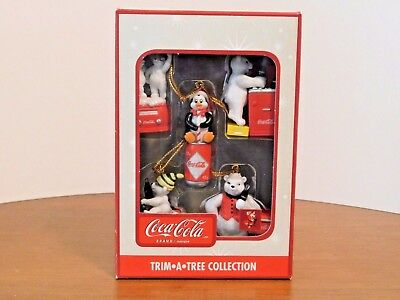 Coca-Cola Trim-A-Tree Collection  - 5 Miniature Ornaments - Bears & Penguin